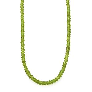 89ct Hunan Peridot Sterling Silver Bead Necklace with Magnetic Lock