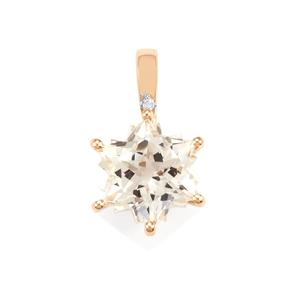 White Topaz Wobito Snowflake Pendant with Diamond in 9K Gold 5.51cts