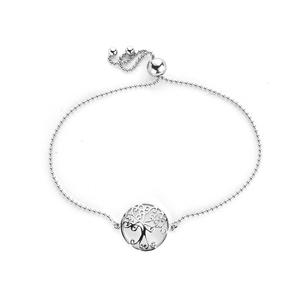 "8.5"" Rhodium Plated Sterling Silver Altro Tree of Life Slider Bracelet 2.07g"