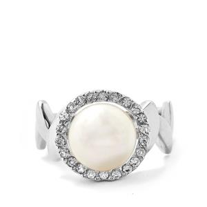 Freshwater Cultured Pearl Ring with White Topaz in Sterling Silver
