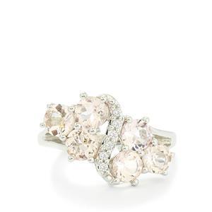 Zambezia Morganite & White Topaz Sterling Silver Ring ATGW 2.67cts