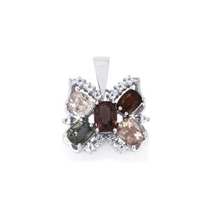 Burmese Multi-Colour Spinel & White Topaz Sterling Silver Pendant ATGW 3.76cts