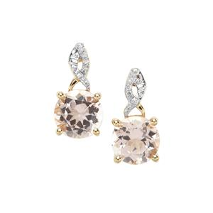 Nigerian Morganite Earrings with Diamond in 9K Gold 2cts