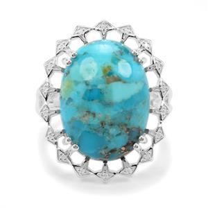 Bonita Blue Turquoise & White Zircon Sterling Silver Ring ATGW 11.23cts
