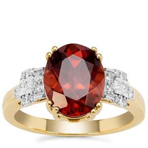 Zanzibar Sunburst Zircon Ring with Diamond in 18K Gold 5.38cts