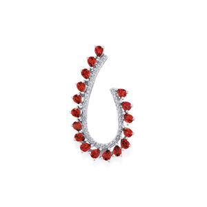 Rhodolite Garnet Pendant with Diamond in Sterling Silver 3.58cts