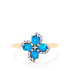 Neon Apatite Ring with White Zircon in 10k Gold 0.84cts