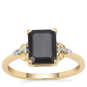 Ethiopian Blue Sapphire Ring with Diamond in 9K Gold 2.83cts