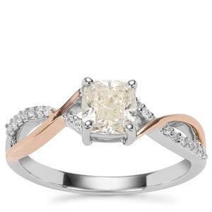 Natural Coloured Diamond Ring with White Diamond in 18K Two Tone Gold 1.05ct