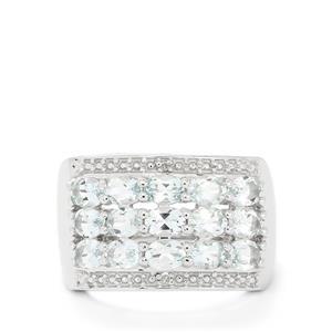 Espirito Santo Aquamarine & Diamond Sterling Silver Ring ATGW 2.39cts
