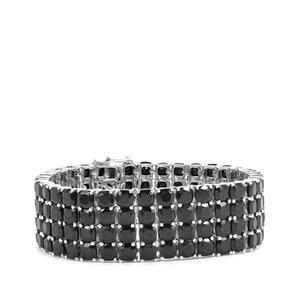 Black Spinel Bracelet in Sterling Silver 100.60cts
