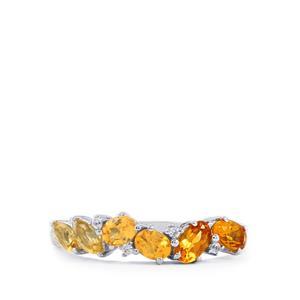 Rio Golden Citrine, Tulelei & White Zircon Sterling Silver Essencia Ring ATGW 1.14cts
