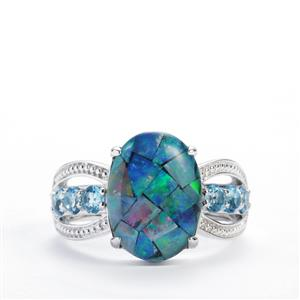 Mosaic Opal (13.50x9.50mm) Ring with Swiss Blue Topaz in Sterling Silver