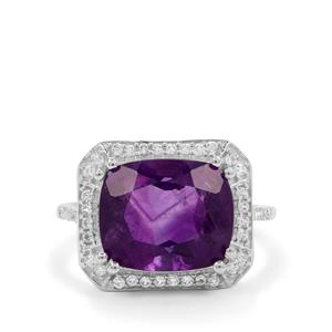 Zambian Amethyst Ring with White Zircon in Sterling Silver 5.15cts