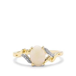 Coober Pedy Opal & Diamond 9K Gold Ring ATGW 0.81cts