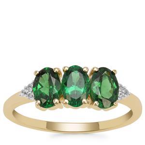 Tsavorite Garnet Ring with White Zircon in 9K Gold 1.49cts