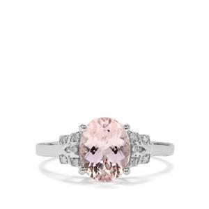 Nigerian Morganite & Diamond 9K White Gold Ring ATGW 1.73cts