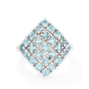 2.00ct Swiss Blue Topaz Sterling Silver Ring