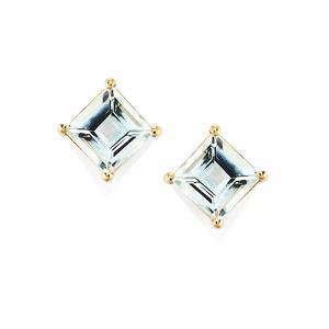 1.87ct Pedra Azul Aquamarine 9K Gold Earrings