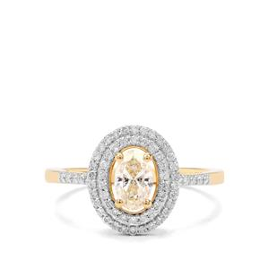 3/4ct Yellow & White Diamond 18K Gold Tomas Rae Ring