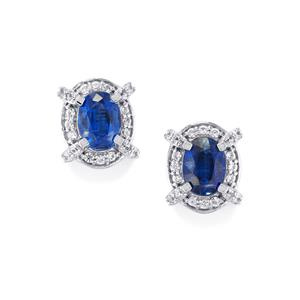 Daha Kyanite & White Zircon Platinum Plated Sterling Silver Earrings ATGW 2.51cts