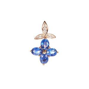 Ceylon Blue Sapphire Pendant with White Zircon in 9K Gold 0.95ct