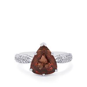 Colour Change Garnet & Diamond 18K White Gold Tomas Rae Ring MTGW 4.15cts