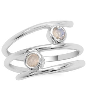 Rainbow Moonstone Ring in Sterling Silver 0.36ct