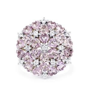 Rose De France Amethyst & White Topaz Sterling Silver Ring ATGW 5.32cts