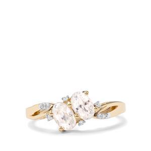Ratanakiri Zircon & Diamond 10K Gold Ring ATGW 1.63cts