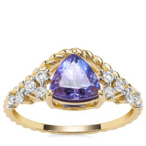 AA Tanzanite Ring with White Zircon in 9K Gold 1.63cts
