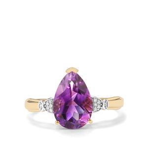 Moroccan Amethyst & Diamond 9K Gold Ring ATGW 2.51cts