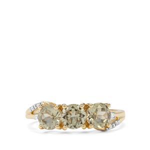 Csarite® & Diamond 9K Gold Ring ATGW 1.78cts