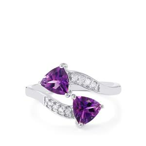 Moroccan Amethyst Ring with White Zircon in Sterling Silver 1.34cts