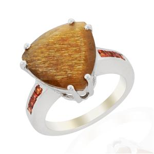 Shinyanga Sunstone Ring with Orange Sapphire in Sterling Silver 8.40cts