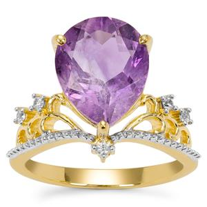 Moroccan Amethyst Ring with White Zircon in Gold Plated Sterling Silver 3.95cts