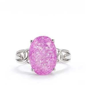 Pink Crackled Quartz Ring in Sterling Silver 5.75cts