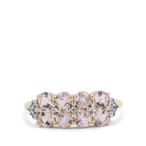 Cherry Blossom™ Morganite & White Zircon 9K Gold Ring ATGW 1.41cts