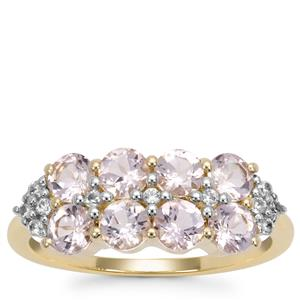 Cherry Blossom™ Morganite Ring with White Zircon in 9K Gold 1.41cts