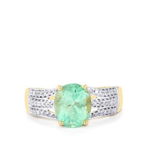Colombian Emerald Ring with Diamond in 18K Gold 3.05cts