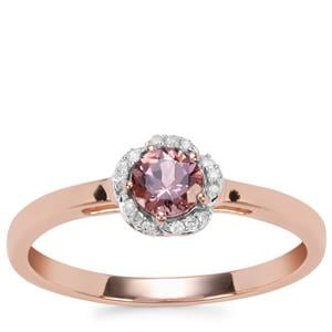Mahenge Pink Spinel Ring with Diamond in 9K Rose Gold 0.38ct