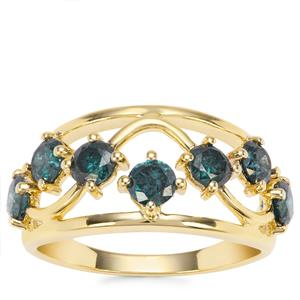 Blue Diamond Ring in 9K Gold 1.40cts