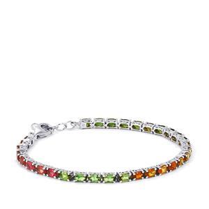 7.24ct Rainbow Tourmaline Sterling Silver Bracelet