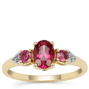 Comeria Garnet Ring with Diamond in 9k Gold 1.30cts