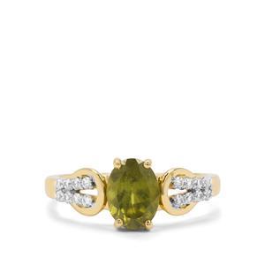 Vesuvianite & White Zircon 9K Gold Ring ATGW 1.57cts