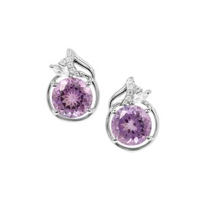 Bahia Amethyst Earrings with White Zircon in Sterling Silver 4.20cts
