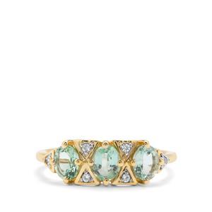 Malysheva Siberian Emerald & White Zircon 9K Gold Ring ATGW 1.06cts