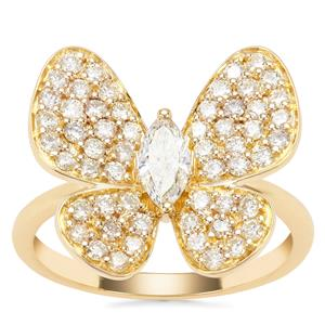 'The Papillon' Yellow Diamond Butterfly Ring in 18K Gold 1ct