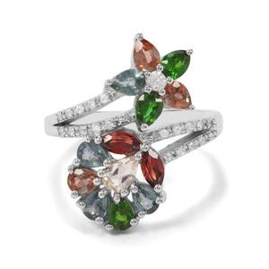 2.65ct Kaleidoscope Gemstones Sterling Silver Ring