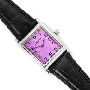 Gemporia Vintage Amethyst Timepiece - Purple Dial with Black Strap